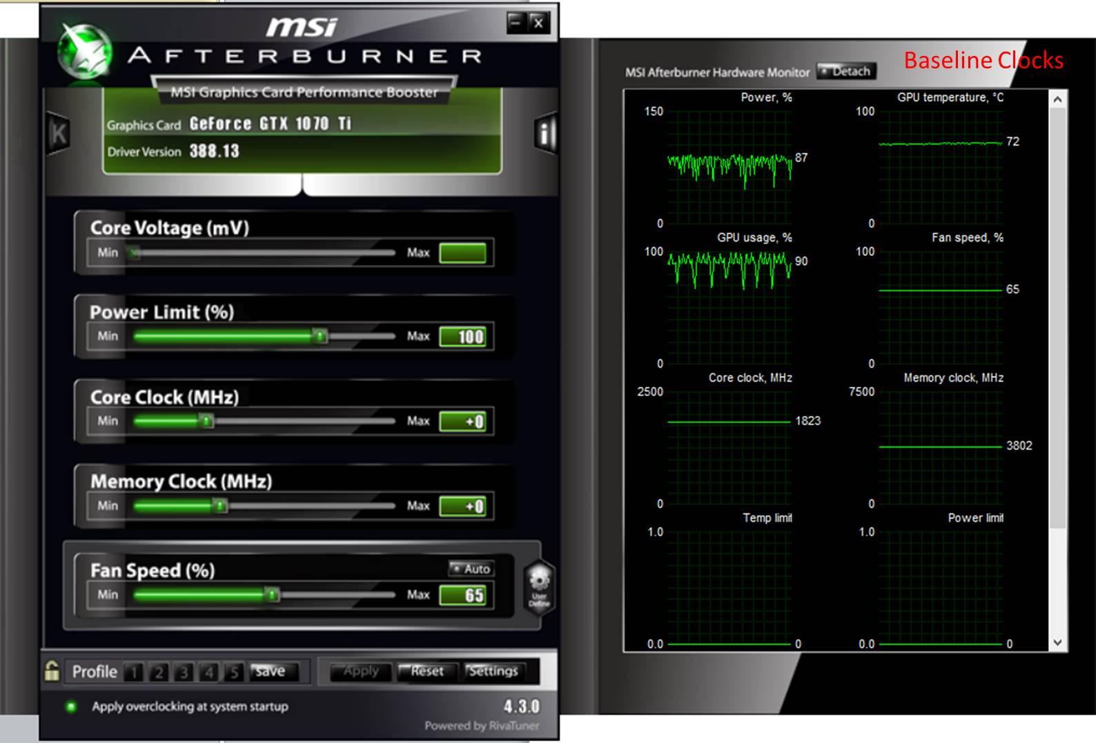 Nvidia 1070 TI Baseline Clocks
